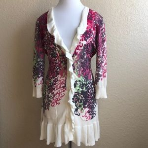 Tabitha floral cotton cardigan with ruffles